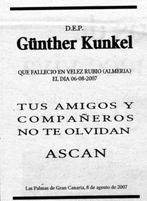 ESQUELA DEL SOCIO HONORIFICO GüNTHER KUNKEL