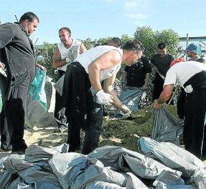 Cerca de 250 efectivos limpian de fuel las playas de las costas de Huelva y Cádiz