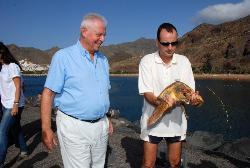 Liberan a dos tortugas bobas en la playa de Las Teresitas (Tenerife)